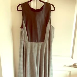 Gray dress w/ Front Top Faux Leather